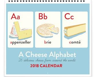 SALE!! CHEESECAL18: 2018 Cheese Alphabet A-Z Calendar (13 months)