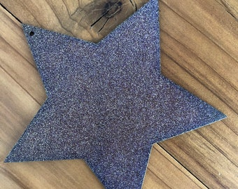 "Fat Star - 4"" Galaxy, Purple, Gold Glitter Metal STAR! Make your own Sign, Gift, Art!"