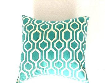 Aqua Off White Floral Pillow, Decorative Throw Pillow Cover - Choose Size - Aqua Off White One (1) Cover