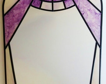 Art Deco 1920s style Sunburst in Purple & Pearlescent ~ a bespoke hand painted and leaded 20x40cm mirror by Douglas Payne