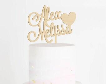 Custom Wedding Cake Topper, Engagement Topper, Bridal Shower Cake Topper, Mr & Mrs Cake Topper, Bride and Groom Topper, Wood Cake Topper