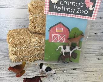 Personalized Petting Zoo Party Favor Bag Topper & Insert Card. Perfect for Farm Birthday Party. Digital. Girl's Pink Farm Party Favor.