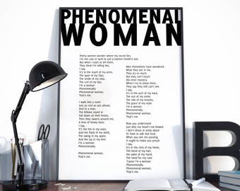 Phenomenal Woman, Maya Angelou Quote, Maya Angelou Poem, Phenomenal Woman Poster, Poem Print, Choose your color