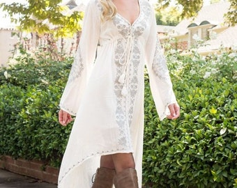 Evelyn - Bohemian Dress, boho dress, Long Sleeve White Dress, Loose Dress, White Maxi Dress, Long White Dress, Bohemian Chic, Womens Dresses