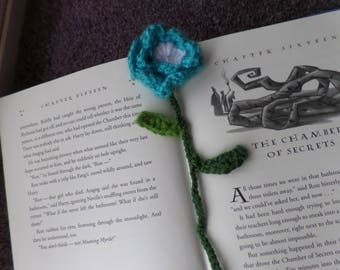 blue and white flower bookmark