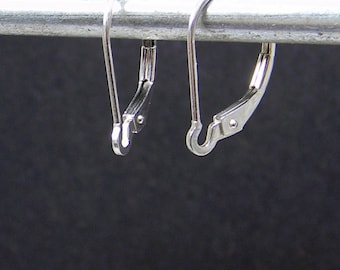 Interchangeable Sterling Silver Lever Back - For Earring Charms and Interchangeable earrings - Latch Back Ear Wires (pair)