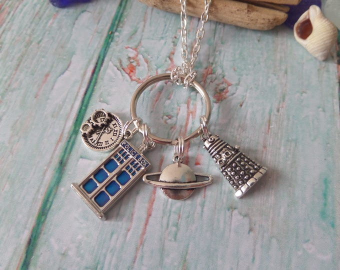 "Doctor inspired 4 tibetan silver charm 24"" necklace & keyring fan Jewellery space time travel gift Uk"