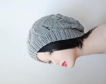 Gray Knit Hat Slouch Beanie womens neutral Casual hat best friend gift ideas