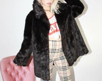 Vintage 60s Dark Brown Faux Fur Jacket