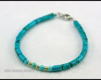 Natural stone bracelet, turquoise bracelet, turquoise stone bracelet, december birthstone bracelet, turquoise jewelry, minimalist, delicate