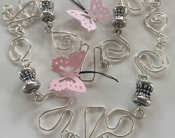 925 Silver Squiggle Wire Necklace - Silver Wire and Bead Necklace