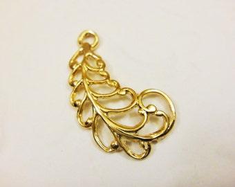 Vermeil, 18k gold over 925 sterling silver leaf charm, vermeil feather, feather,leaf, vermeil leav,earring finding