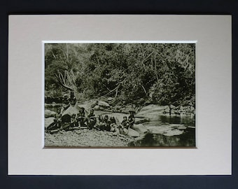 1920s Antique Malaysian Print of Borneo Natives, Available Framed, Bornean Art, Southeast Asia Gift, Kayan Decor, Malaysia Picture Orang Ulu