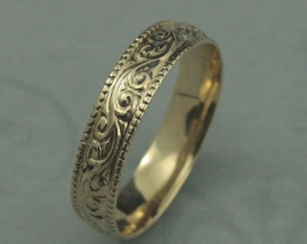 14K Gold Flourish Wide Wedding Band-Swirl Patterned Ring with Milgrain Edge--Your Choice of Gold Color and Made to Size