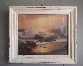 Vintage Romantic Dreamy Beach scene Framed in Shabby chic White ~ Rocks waves sunset