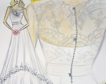 custom bridal sketch of your dress