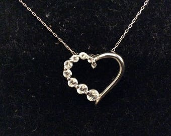 Sterling Silver and Cubic Zirconia Floating Heart Pendant Necklace