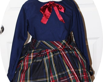 VTG 1960s Polly Flinders Navy Blouse Paired with Flared Plaid Taffeda Pocket Short Underskirted Skirt - SZ. 7 to 8YR