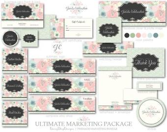 Marketing Set,Logo,Etsy Set,Facebook Timeline Cover,Business Card Templates-Floral Pattern,Leaves-Pink,Black,Green-Etsy Branding Package