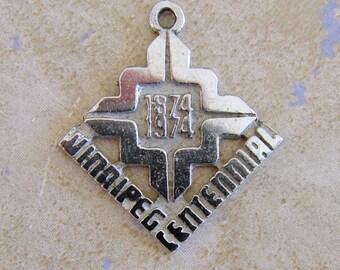 Winnipeg Canada Centennial 1874-1974 Sterling Silver Bracelet Charm Manitoba
