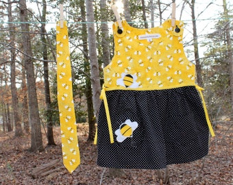 Brother and Sister Bee Print Dress and Tie Set -  Dress Size 4T - SALE