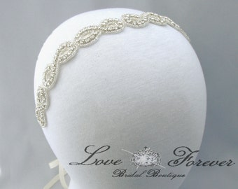 Infinity Symbol Wedding Headband, Crystal Rhinestone Bridal Headpiece, Satin Ribbon Bride Headband, 35 Satin Color Choices