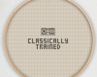 Classically Trained Nintendo Entertainment System NES Cross Stitch Bookmark Pattern - Instant Download PDF
