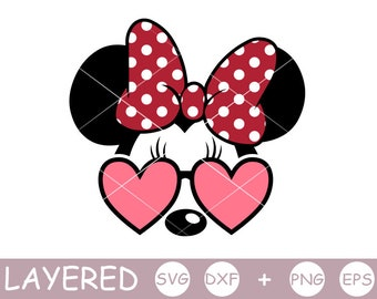 Minnie Mouse svg, Minnie svg, Mouse, Sunglasses, bow polka dots, layered SVG, Disney, Cricut, Silhouette, cut file, Dxf, Png, Vinyl Decal