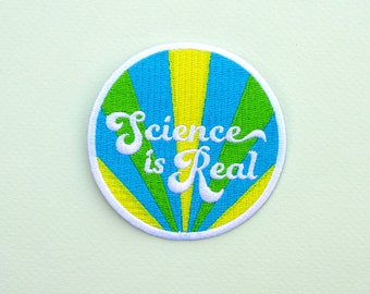 Iron on Patch Science is Real Retro Design Blue Activism