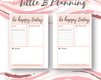 BE HAPPY TODAY   A5 Personal Printable Planner Inserts