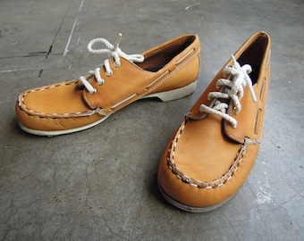Vtg Tan Leather Loafer Boat Shoes Dexter Made in USA Ladie's Sports Cottage Oxfords Size 7 60's 70's