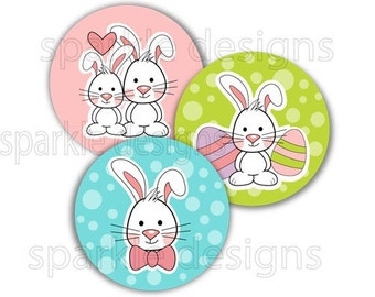 Easter bunnies- 1 inch round - digital file - Instant Download no. 402