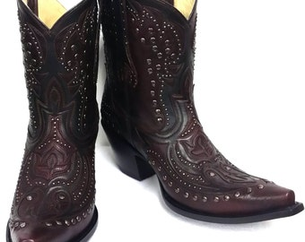 Corral Boots LD Wine/Black Short Top Inlay & Studs