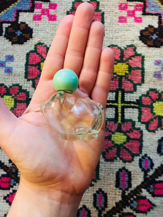 Vintage Piggy Avon Bottle with Mint Green Stopper - Small Collectible Avon Bottle - Hawaiian White Ginger Cologne Bottle