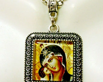 Madonna and child pendant and chain - AP02-036