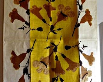 Vintage Brown Flower Themed VERA Kitchen Towel