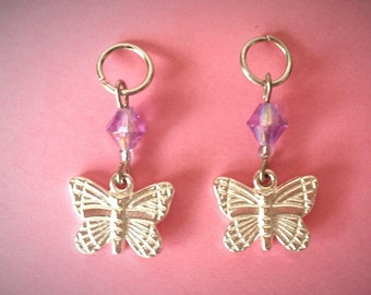 Hearing Aid Jewelry: Silver Butterflies! Also available in a matching Mother/Daughter Set!