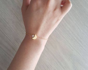 Delicate Petite moon star Bracelets,Delicate moon Bracelets,Unique bracelet,Thin Gold Chain, Layering Bracelet ,Bridesmaid Gift