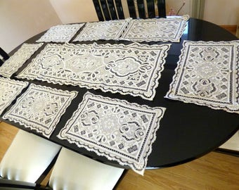 Vintage Madeira Hand Cut Work Hand  Embroidery Placemats and Runner (8 placemats and 1 runner)