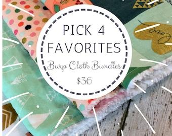 Bundle of 4 Burp Cloths - You choose 4 fabrics - Burp Cloth Set - Burp Clothes - 10% off bundle pricing - Burping Cloth - Burp Rag