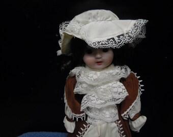 Heritage Dolls Girl in Brown dress Vintage