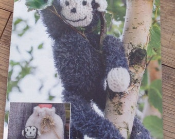 Knitted Monkey Toy , Chunky Knit Monkey and Bag , Knitted Monkey Soft Toy Pattern