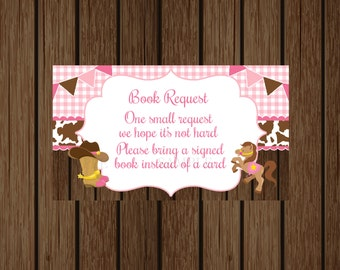 Cowgirl Books For Baby, Book Request Card, Cowgirl Baby Shower, Lil' Cowgirl Baby Shower, Instant Download, Pink and Brown