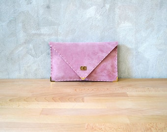 Pale pink suede leather clutch