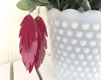 Recycled Leather Earrings / Feather Earrings / Pink Leather Feather Earrings / Pink Feather Earrings / Eco Friendly leather / Boho Earrings