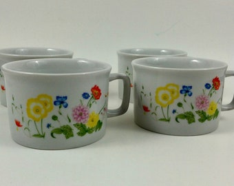 Set of 4 Fine China Floral Mugs Made in Japan