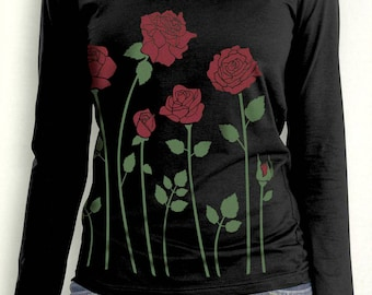 Red Roses Women's Plus Size Long Sleeve Black t-shirt, Gift for Her, Artsy T-shirt