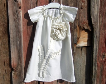 girls shabby chic DRESS, the Plain Jane in ivory, brown or white custom newborn to 6 peasant boutique vintage inspired