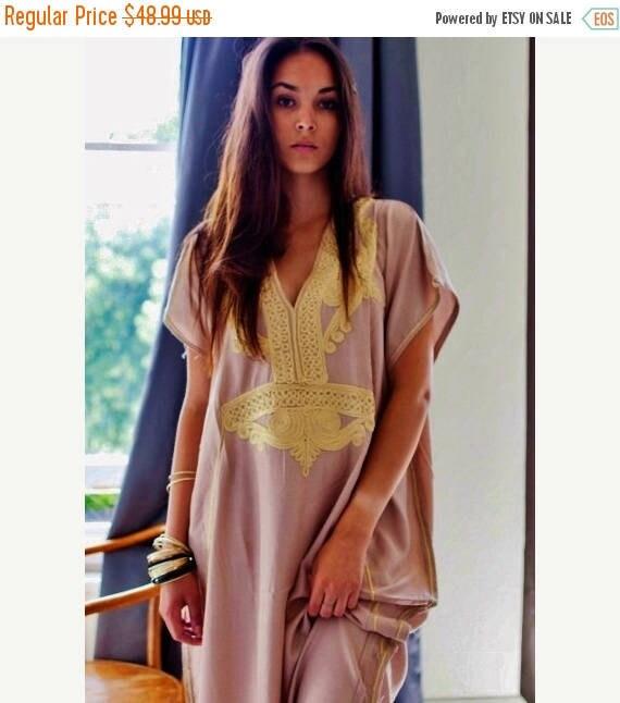 Autumn Dress Bohemian Kaftan Beige Marrakech Resort Caftan-beach, resortwear,maxi dress, birthdays, honeymoon, winter dress, Ramadan, Eid