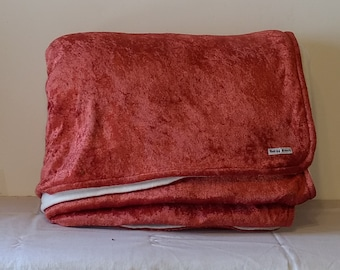 Large Fleece & Crushed Panne Velvet Throw Blanket  - Bright Copper
